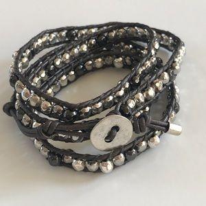 Leather Wrap Boho Bracelet Silver Beads